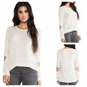 Revolve LNA Cutout Sweater in Ecru Ivory Large